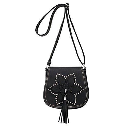 SANFASHION Sac a Main Femmes Pas Cher PU Vintage Fleurs Rivet Fringe Bohème Sacs Round à Bandoulière Bag Elegant (Rétro Fleurs, Noir)