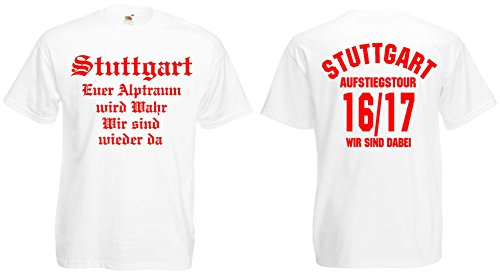 Fruit of the Loom Stuttgart Aufstiegs-Tour T-Shirt von S-XXXL Austeiger 2016/17 Weiss-XL KT5