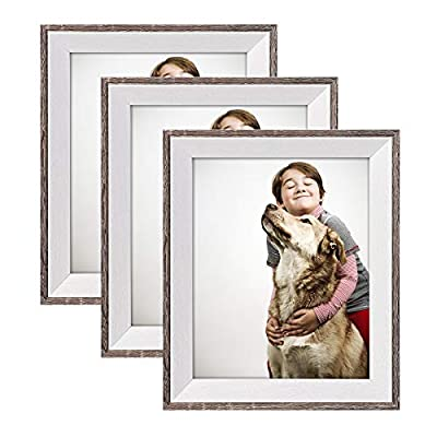 XULE 8x10 Picture Frame with High Definition Glass,3 Pack Wood Textured Photo Frames for Wall or Tabletop Display Grey