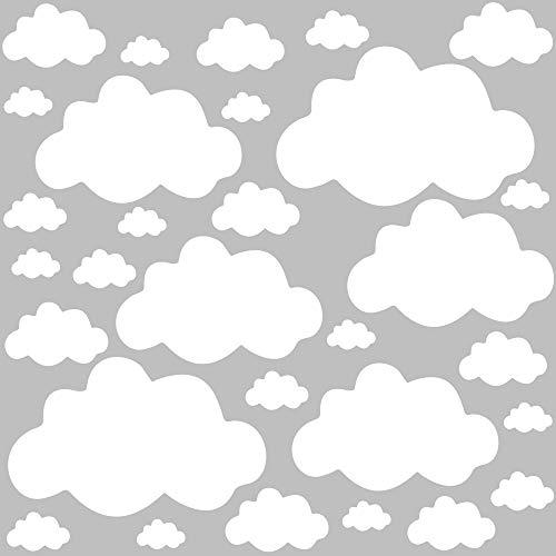 PREMYO 30 Nubes Pegatinas Pared Infantil - Vinilos Decorativos Habitación Bebé Niños - Fácil de Poner Blanco