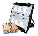 Pack 2x Foco Proyector Led Slim 50w. Color Blanco Frío (6500K). Más Elegante. 5000 Lumenes. A++