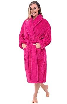 Alexander Del Rossa Women s Plush Fleece Robe Warm Shaggy Bathrobe Small-Medium Magenta Pink A0302MAGMD