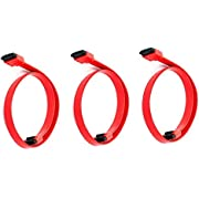 3 Pack 18Inch SATA 6Gbps Cable W/Locking Latch - Red, CNE567815
