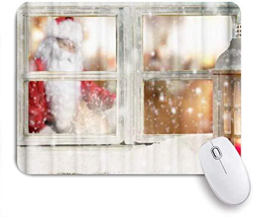 Gaming Mouse Pad rutschfeste Gummibasis, Schneeflocke Santa Claus Fenster, für Computer Laptop Schreibtisch