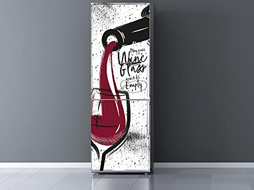 Oedim Vinilo Frigorífico Copa con Vino, Vinilo Decorativo para neveras, decoración para cocinas, Pegatina Nevera
