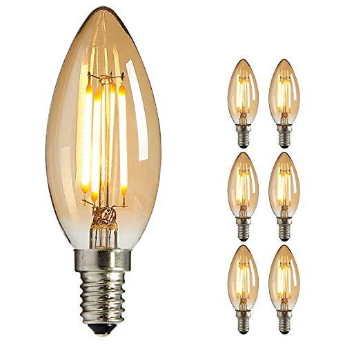 LED Edison Glühbirne E14, NUODIFAN 6x Vintage Kleine LED Kerze Birne Antike Lampe (Warmweiß 4W 2700K Amber Glas) Dekorative Retro Glühbirne Ideal für Kronleuchter Hänge Kristalllampe