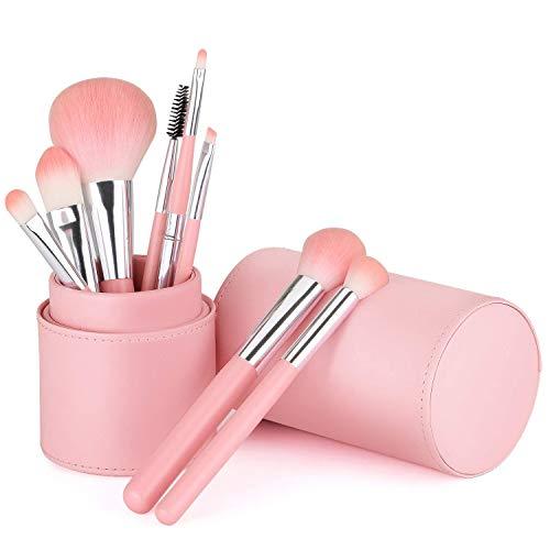 Lot de 8 pinceaux de maquillage synthétiques Kabuki pour fond de teint, poudre, contour, blush, estompeur des yeux, avec support - Rose