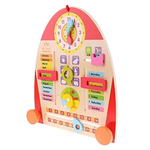 LKK-KK Madera reloj calendario Enseñanza Junta for niños pequeños Niños Los primeros juguetes de aprendizaje educativos