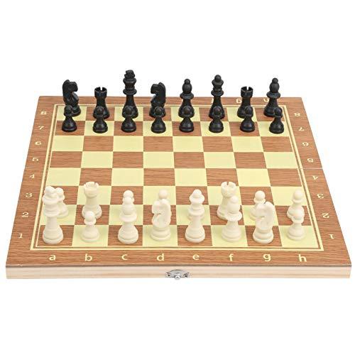 Dilwe Juego de ajedrez de Caja de Madera, Juego de Tablero de ajedrez Plegable portátil Duradero para Adultos y niños, Juegos de Mesa para el hogar y los Viajes para Principiantes