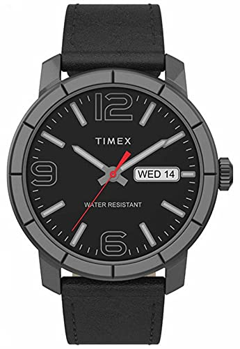 Timex TW2T72600 Men's Mod 44 Black Leather Strap Black Dial Day Date Watch