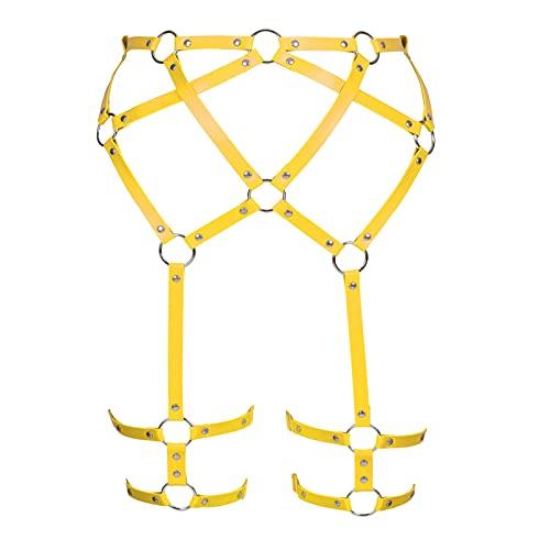 BBOHSS Imbracatura per il corpo da donna Punk in pelle PU Moda reggicalze Cintura in vita Gamba Regolabile in vita coscia Costume da ballo (Giallo arancio)