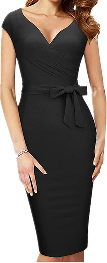 NP Women Elegant Charming Neck Cap Sleeve Waist Bow Slim Pencil Dress