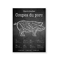 kldfig フランスの肉屋のガイドポスターポークカットキッチンシンボルプリントヴィンテージ黒板アートキャンバス絵画彼氏の夫のためのギフト-40x50cmフレームなし