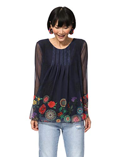 Desigual Damen T-Shirt Long Sleeve Rachel Woman Blue Langarmshirt, Blau (Navy 5000), Medium