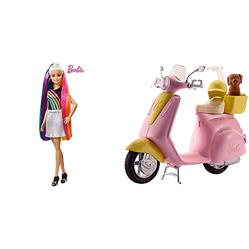 Barbie️ Rainbow Sparkle Hair Doll & FRP56 ESTATE Mo-Ped Motorbike for Doll, Pink Scooter, Vehicle, Multi-Colour