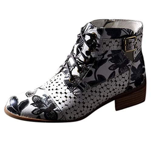 DFNNMXZ Dames laarzen Vrouwen Laarzen Mode Inkt Schilderen Bloem Patroon Lederen Splicing Vetersluiting Enkellaarzen Vrouwelijke Schoenen Plus Maat 43 GY