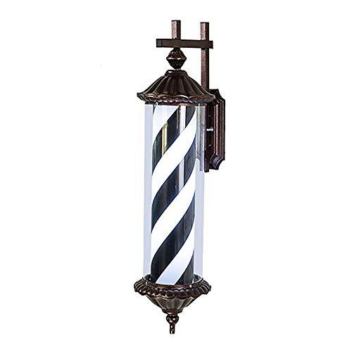 Led Flat Top Barber Pole - Rotierender Beleuchteter Roter Weißer Blauer Streifen Für Friseursalonzeichen, Wasserdichte An Der Wand Montierbare Lampenleuchte, Verchromte Kappen 70cm/28in ,Blackwhite