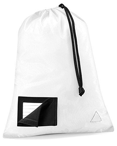 Quadra Junior tessuto impermeabile striscia Shoesac Enhanced-Viz-Borsa per scarpe con cordino bianco