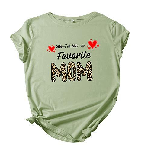 Blusa básica para mujer, camisa de blusa, regalos divertidos para el Día de la Madre, camiseta para mujer, manga corta, cuello redondo, camiseta de verano, túnica, Verde D., M