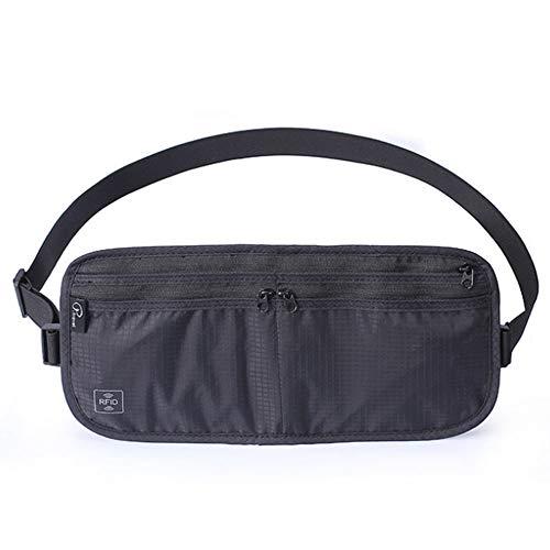 P.travel Bauchtasche Hüfttasche mit RFID-Blocker Abnehmbarer Schultergurt Unisex Brustbeutel Wasserabweisend Enganliegend Umhängetasche Leichte Gürtel-Tasche + Reisepass Schutzhülle - Schwarz