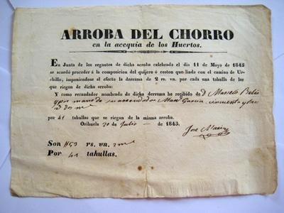 Documento - Document : Recibo de abono de una derrama en la Arroba del Chorro en la Acequia de los Huertos. 1845