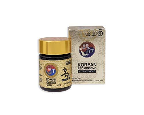 Ginseng rosso coreano, estratto gold, 50 g, dose per 45 giorni, la migliore qualità di Ginseng rosso coreano, la massima concentrazione possibile di Ginsenosidi (Rg1, Rb1, Rg313mg/g)