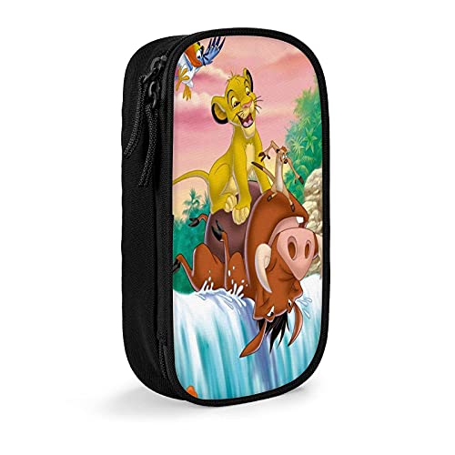 Lion King Estuche para lápices, bolsa de cosméticos de viaje, estuche con cremallera de gran capacidad, caja de almacenamiento de papelería, regalo de cumpleaños