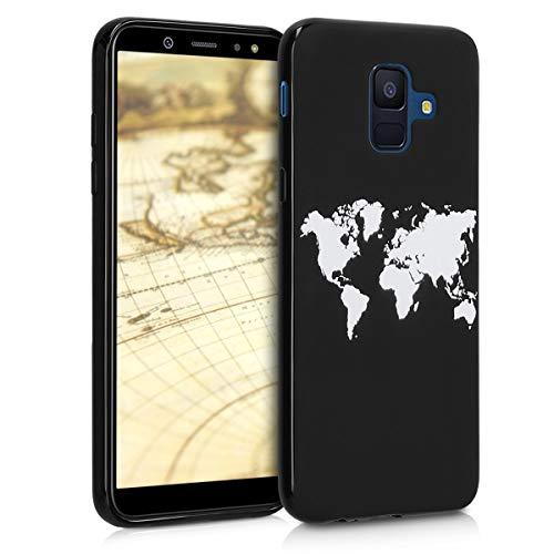 Preisvergleich Produktbild kwmobile Hülle kompatibel mit Samsung Galaxy A6 (2018) - Handyhülle - Handy Case Travel Umriss Weiß Schwarz