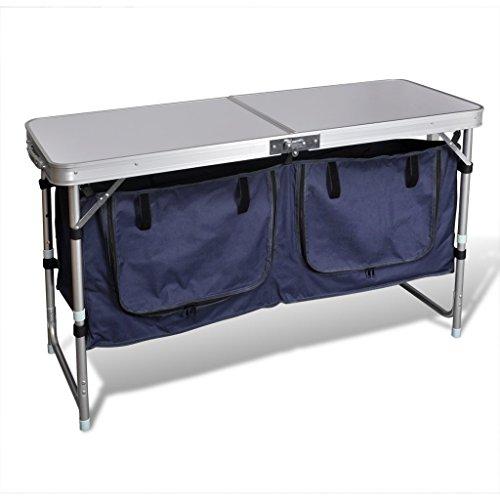 Festnight Campingküche Kocherschrank aus Aluminium mit Große Arbeitsfläche Zusammenklappbar 120 x 47 x 68 cm