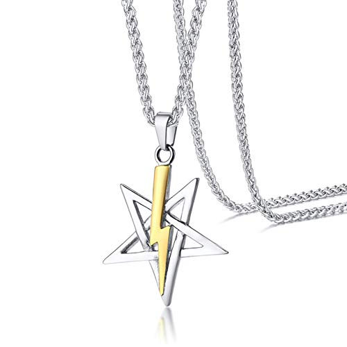 AnazoZ Collar de Hombre Acero Inoxidable Estrella con Relámpago Collar Plata Oro