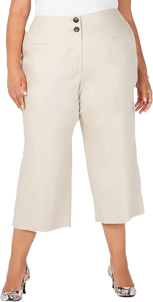 Alfani Plus Size High-Waist Wide-Leg Capris, Beige, 14W