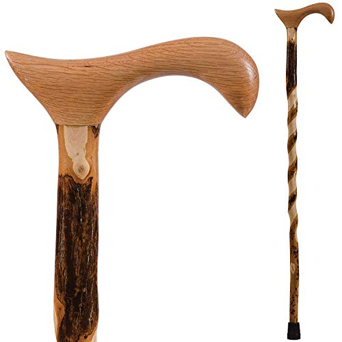 Brazos Walking Cane for Men and Women Handcrafted of Lightweight Wood and made in the USA, Hickory, 37 Inches