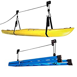 RAD Sportz Kayak Hoist Set – Overhead Pulley System with 125 lb Capacity for Kayaks, Canoes, Bikes, or Ladder Storage (2… 1 SET OF 2 CEILING HOISTS – The set of 2 storage hoists are ideal for keeping your kayaks, canoes, bikes, or ladders suspended overhead for convenient out of the way storage in your garage or shed PULLEY SYSTEM – The hoists utilize a pulley system with a safety locking mechanism that makes it easy to lift and safely store equipment up to 125-pounds RUBBER COATED HOOKS – The hooks are designed with a rubber coating to protect your kayak or canoe from scratches