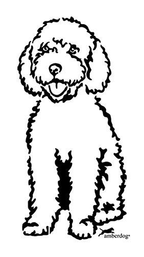 amberdog Spanischer Wasserhund Fensterfolie Art.Nr.AT0221 Auto Aufkleber Wohnmobil Wohnwagen (20x15cm, weiß)