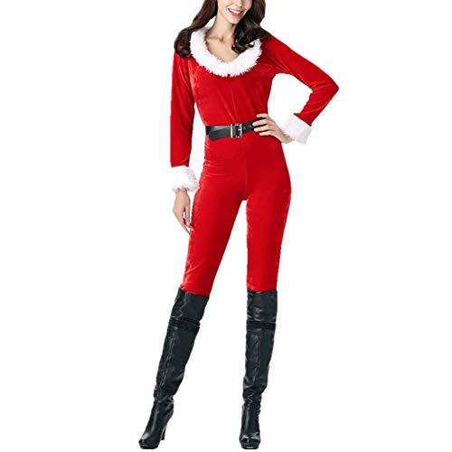 litty089 Vrouwen Lange Jumpsuit met Santa Style, Decor voor Bar/Nachtclub/Prestaties/Dans, Gebruikt voor Kerst Cosplay Kostuum