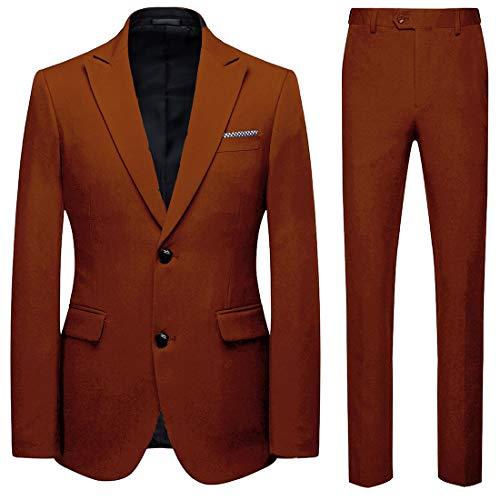 HOTK Men's Suits Custom Made Solid 2 Piece Peak Lapel Slim Fit Wedding Suits Groom Tuxedos for Men Brown