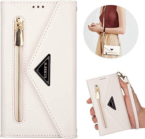 Kompatibel mit iPhone XR Hülle Leder Tasche Brieftasche Flip Wallet Case Schutzhülle Handyhülle Reißverschluss Geldbörse Klapphülle Handytasche mit 5 Kartenfächer für iPhone XR,Weiß