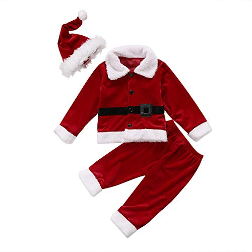 XARAZA Baby Boys Christmas Clothes Outfits Velvet Long Sleeve Outwear Jacket + Santa Long Pants + Hat (Wine Red, 6-12 Months)