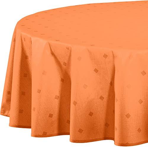 Erwin Müller abwaschbare Tischdecke, Tischwäsche Neuss im Rautendesign, Terra Größe oval 140x190 cm - acrylversiegeltes Gewebe für leichtes Wischen (weitere Farben, Größen)
