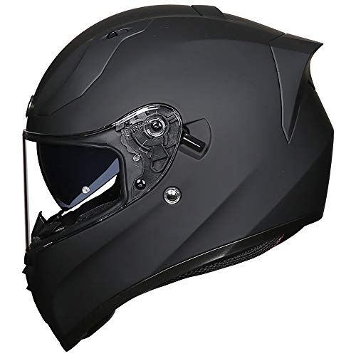BBJZQ Full-face Motorrad-Helm 4XL Extra Großer Code Motorradhelm Klapphelm Und Anti-Fog Hd Doppellinse Pedal Chopper Cruiser Rennhelm Integral-Helm DOT/ECE Zertifiziert L(57~58cm)