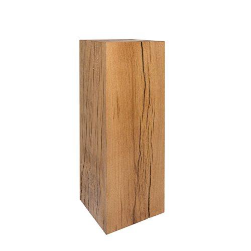 GREENHAUS Holzsäule Eiche Massiv 20x20x80 cm Handarbeit und Massivholz aus Deutschland Dekosäule Holzklotz Holzblock