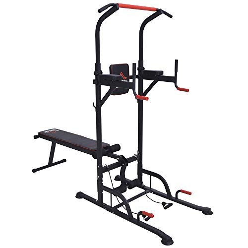 HOMCOM Multifunction Home Workout Power Tower Dip Station w/Sit-up Bench Push-up Bars Tension Ropes Fitness Equipment Office Gym Training