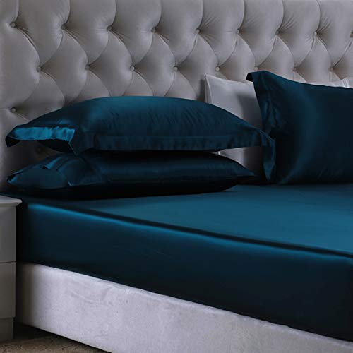Orose 3Pcs 100% Mulberry Silk Fitted Sheet Set 19MM Seamless,Deep Pocket, Gift Wrap (King, Peacock Blue)