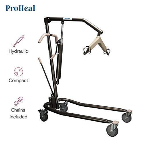 ProHeal Hydraulic Patient Lift - Manual Full Body Lifter for Handicapped, Senior and Immobile Patients - 6 Point Spreader, Chains Included, 450 lbs Capacity