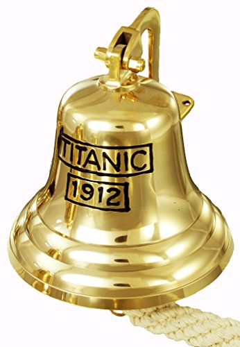 Buckingham Titanic 1912Gravur Wand montierbar massivem Messing Pub/Tür/letzten Bestellungen/Schiff Glocke, Gold, 20cm