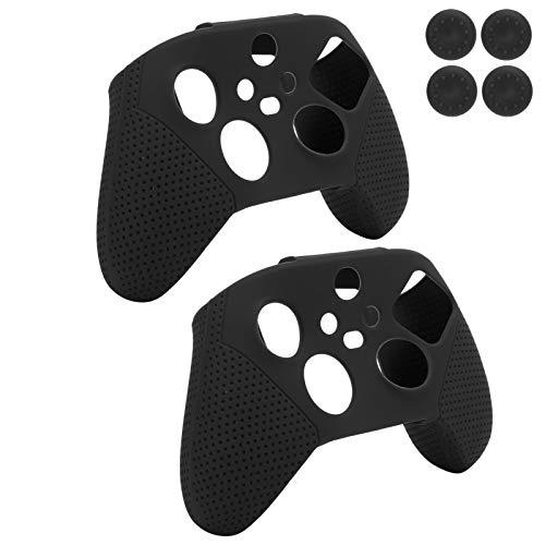 Mxzzand Gamepad Handle Grip Ultrafino Gamepad Skin Covers Antideslizante Silicona 180g / 6.36oz Peso Fácil de Limpiar 2pcs con Rocker Cap para XboxSeriesS/X(Black)