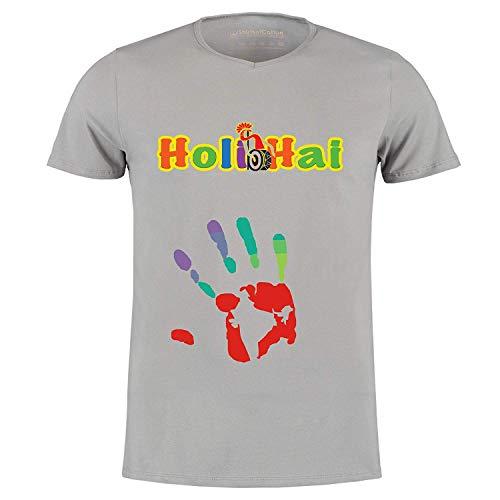 Himshikhar Holi Hai Printed T-Shirt for Men & Women   Half Sleeve T-Shirt   Round Neck T Shirt   100% Polyester T-Shirt  Fashions  (Grey, X-Large)