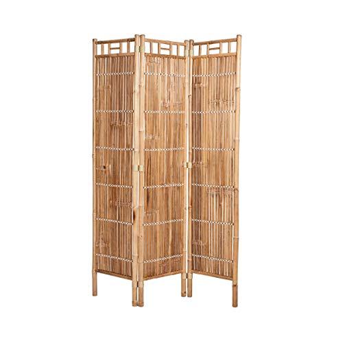 Butlers Safari Paravent Bambus 120x4x180 cm - Brauner Raumteiler als Sichtschutz aus Holz - Asiatische Raumdeko, faltbar
