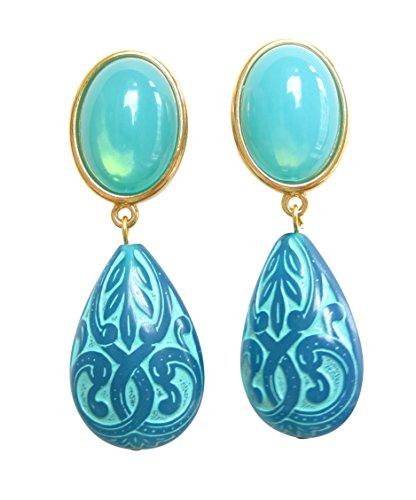 Sehr leichte große Ohr-Clips vergoldet Stein lagunen-grün Anhänger Tropfen Ornamente Schmuck für Frauen Fashion Dirndl Fest Geschenk Designer JUSTWIN