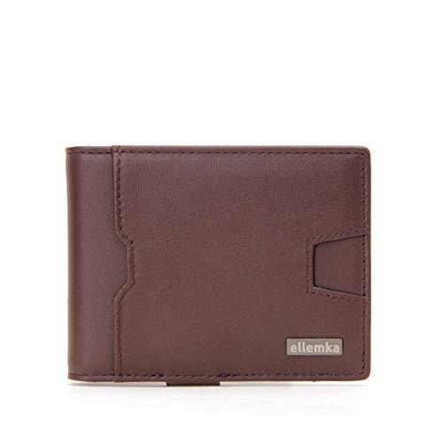 Ellemka - Geldbeutel Portemonnaie Geldbörse | Echtleder Buffalo Slim Braun | Herren Männer | Geschenkbox - Modell ELLX